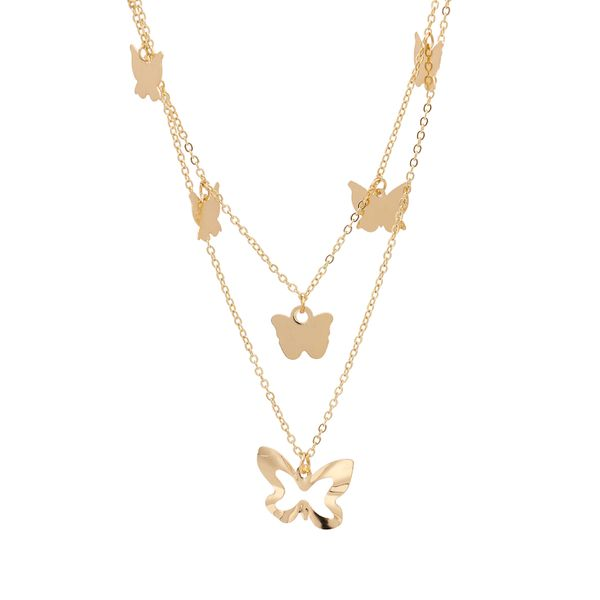 new multi-layer alloy butterfly necklace hollow butterfly neck chain sweater chain wholesale nihaojewelry NHUI221099