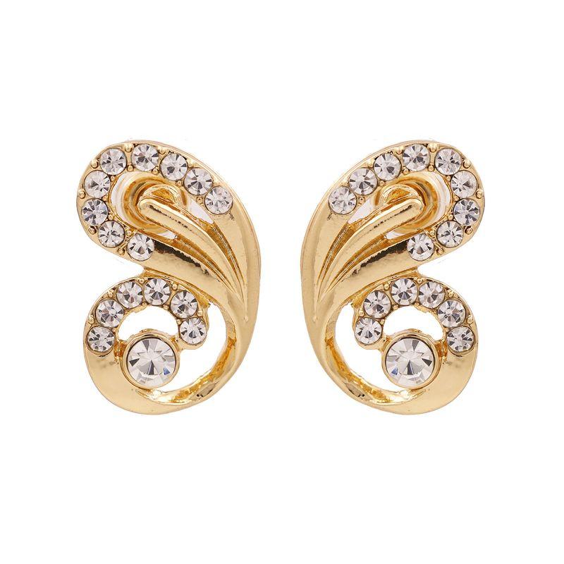 fashion exaggerated animal alloy diamond stud earrings personality butterfly wings rhinestone earrings wholesale nihaojewelry NHUI221103