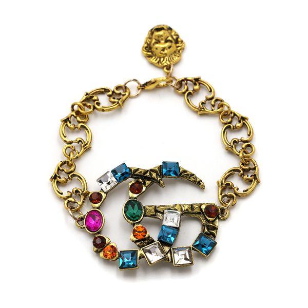 fashion retro style double G bronze diamond bracelet exaggerated alloy diamond bracelet wholesale nihaojewelry NHUI221108