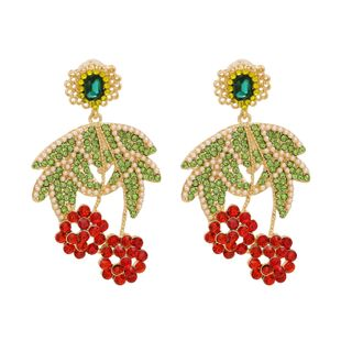 hot sale fashion new colorful point diamond pearl cherry fruit earrings  wholesale nihaojewelry NHUI221116's discount tags