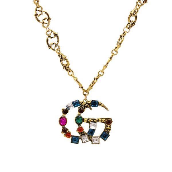 new exaggerated retro double G necklace ZA magazine retro alloy diamond necklace wholesale nihaojewelry NHUI221119