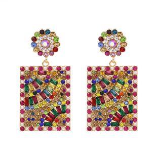 hot selling fashion personality geometric square earrings hot selling full diamond earrings wholesale nihaojewelry NHUI221121's discount tags