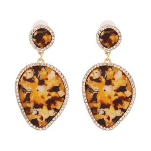 fashion retro style leaf drop marble pattern earring pendant alloy diamond supply wholesale nihaojewelry NHUI221123's discount tags