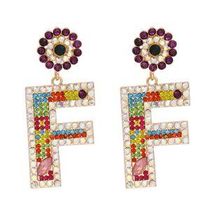 Korea letter F earrings  personality exaggerated fashion letters diamond earrings wholesale nihaojewelry NHUI221124's discount tags