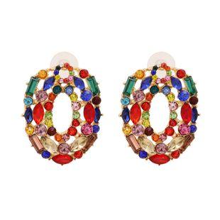 new fashion hot sale  metal diamond earrings color zircon round earrings nihaojewelry wholesale NHUI221126's discount tags