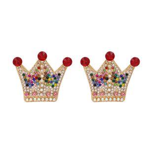 New  fashion personality crown earrings metal diamond zircon palace earrings nihaojewelry wholesale NHUI221127's discount tags