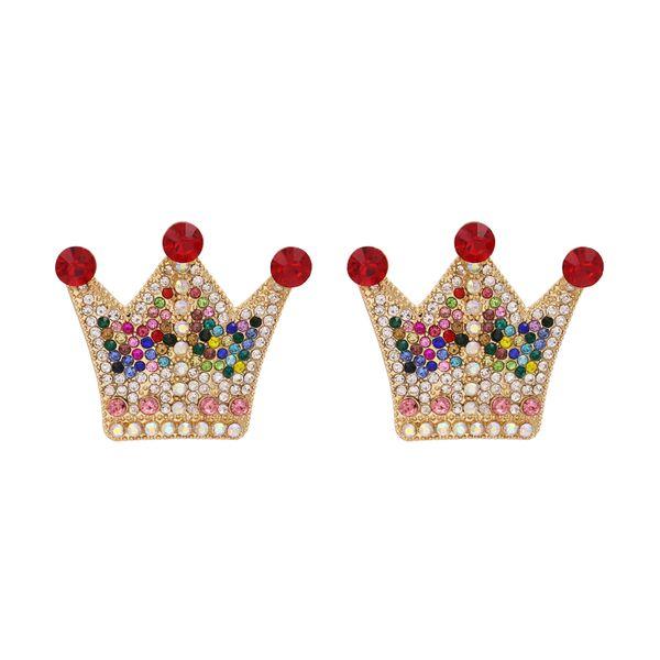 New  fashion personality crown earrings metal diamond zircon palace earrings nihaojewelry wholesale NHUI221127