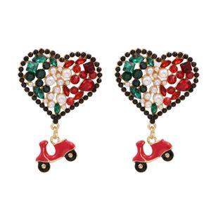 New fashion  color diamond-set zircon heart earrings personality color diamond peach heart love earrings nihaojewelry wholesale NHUI221131's discount tags