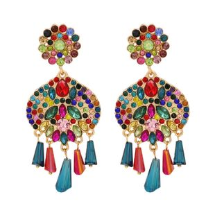 fashion new  exaggerated full diamond tassel earrings  national style personality pearl inlaid earrings nihaojewelry wholesale NHUI221134's discount tags