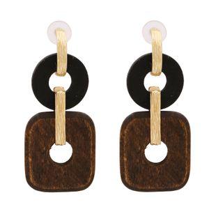 New fashion simple retro geometric wood earrings  long metal earrings earrings  wholesale NHUI221135's discount tags