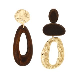 New  retro drop-shaped wooden earrings  exaggerated fashion  metal earrings nihaojewelry wholesale NHUI221137's discount tags