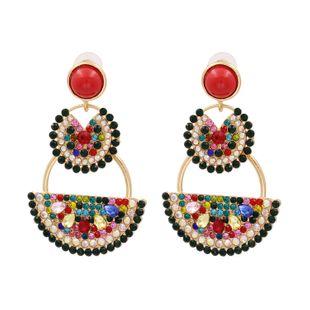 fashion new new personality fruit watermelon earrings ladies alloy diamond earring nihaojewelry wholesale NHUI221138's discount tags