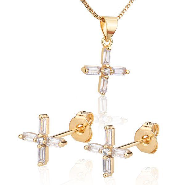 Escalera conjunto de collar de cruz de circón cuadrado nuevo y caliente chapado en oro pin de oreja al por mayor nihaojewelry NHBP221142