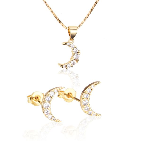Venta caliente con conjunto de collar de pendientes de luna de diamante Venta caliente chapado en oro circón colgante colgante de oreja al por mayor nihaojewelry NHBP221148