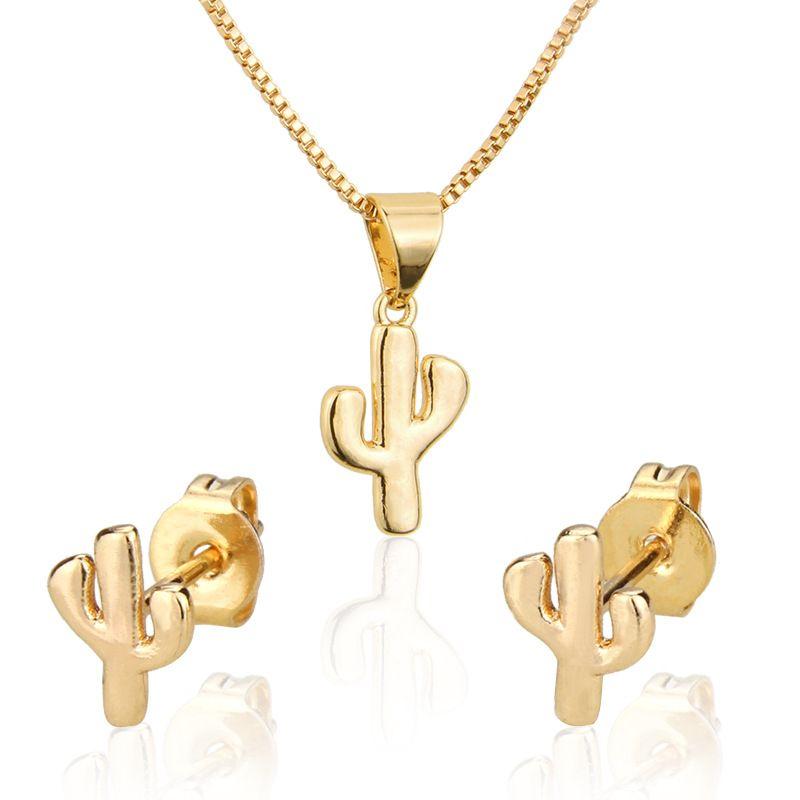 Fairy Pillar Stud Necklace Set Hot Selling New Gold Plated Fairy Pillar Pendant Ear Pin wholesale nihaojewelry NHBP221151