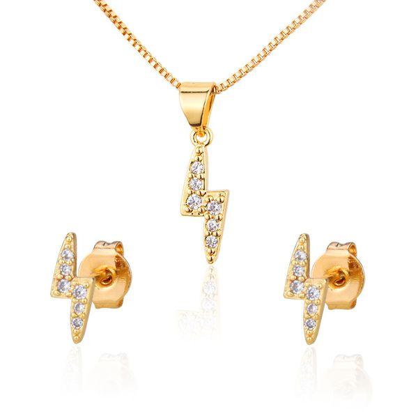 Ventas calientes con aretes de diamantes conjunto de collar venta caliente nueva chapado en oro rayo colgante pin de oreja al por mayor nihaojewelry NHBP221154