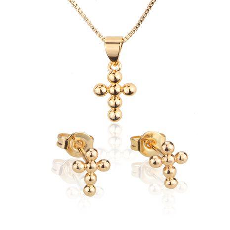 perle ronde croix oreille goujon collier ensemble vente chaude plaqué or sphérique pendentif oreille épingle en gros nihaojewelry NHBP221150's discount tags