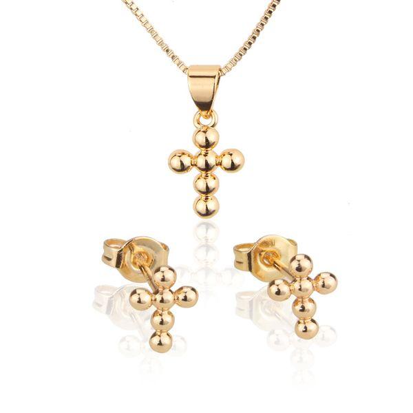 Conjunto de collar de perlas cruzadas de cuentas redondas venta caliente chapado en oro colgante esférico pin de oreja al por mayor nihaojewelry NHBP221150