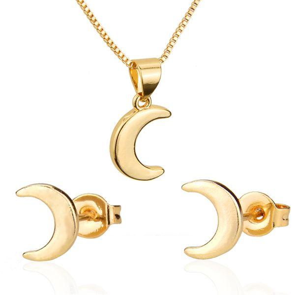Moon Earring Necklace Set Venta caliente Nuevo chapado en oro Crescent Colgante Ear Pin venta al por mayor nihaojewelry NHBP221153