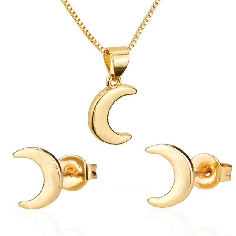Moon Earring Necklace Set Hot Selling New Gold-plated Crescent Pendant Ear Pin  wholesale nihaojewelry NHBP221153