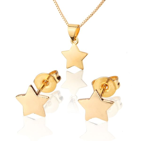 Pentagram Ear Stud Collar Set Gold Plated Platinum Plated Zircon Star Colgante Ear Pin venta al por mayor nihaojewelry NHBP221157