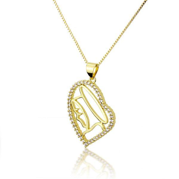 Venta caliente collar de cara lateral en forma de corazón de circonio moda nuevo cobre electrochapado colgante de corazón de durazno nihaojewelry al por mayor NHBP221160