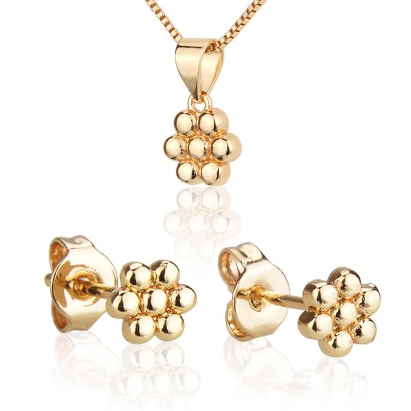 Venta caliente conjunto de collar de siete bolas nuevo chapado en oro colgante pin de oreja al por mayor nihaojewelry NHBP221163