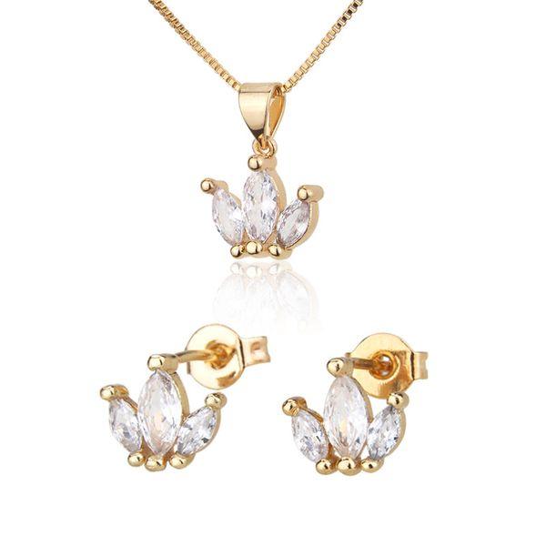 Venta caliente conjunto de collar de tres anillos nuevos pendientes de perno de circón chapado en oro conjunto al por mayor nihaojewelry NHBP221168