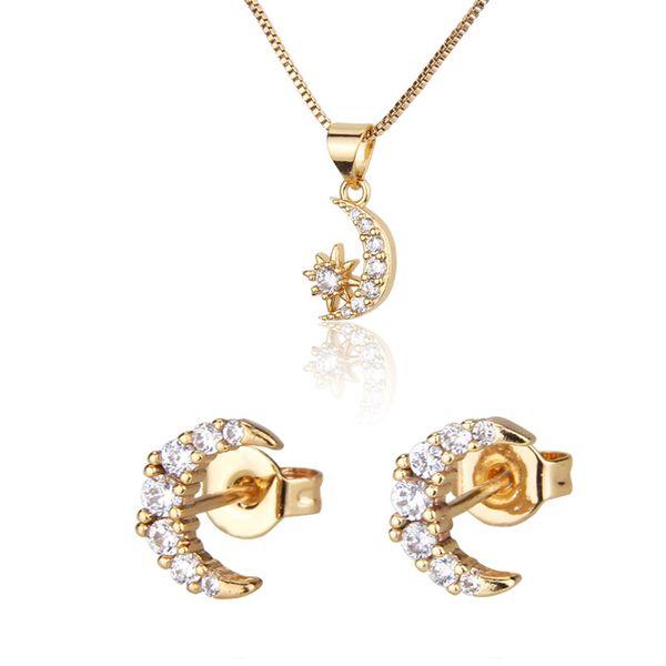 Venta caliente conjunto de collar de luna y estrella nuevo chapado en oro estrella luna colgante pin de oreja al por mayor nihaojewelry NHBP221170