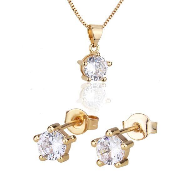 Venta caliente ronda collar conjunto nuevo sol chapado en oro colgante pin de oreja al por mayor nihaojewelry NHBP221175