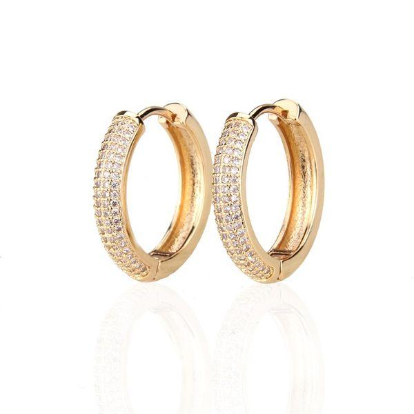 Pendientes de aro de circón de moda Pendientes de cobre simples Pendientes redondos de circonio con macro incrustaciones nihaojewelry NHBP221178