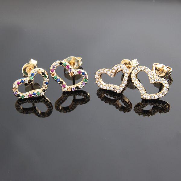 Venta caliente de cobre plateado blanco circonio color zirconio retorcido pendientes en forma de corazón joyería de moda al por mayor nihaojewelry NHBP221179