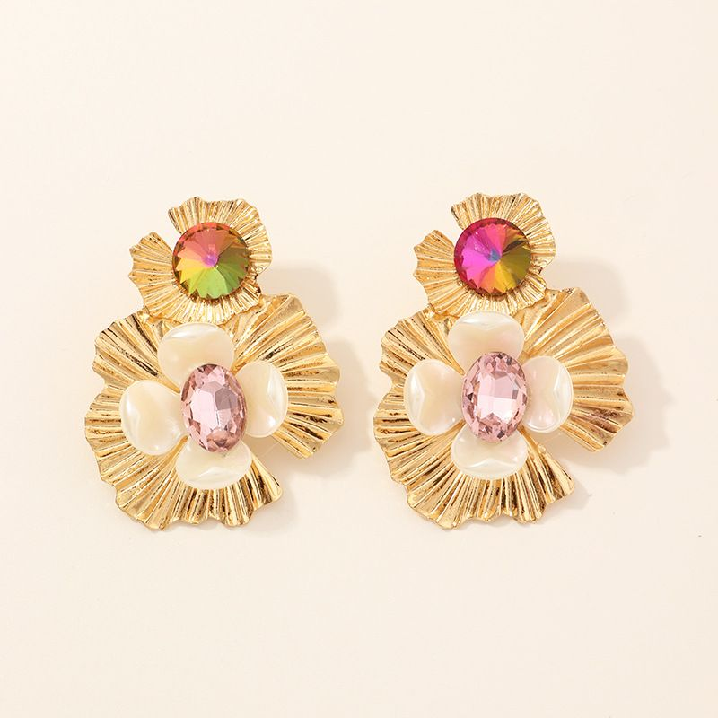 jewelry exaggerated multilayer alloy resin diamond flower earrings elegant temperament earrings wholesale nihaojewelry NHNZ221188