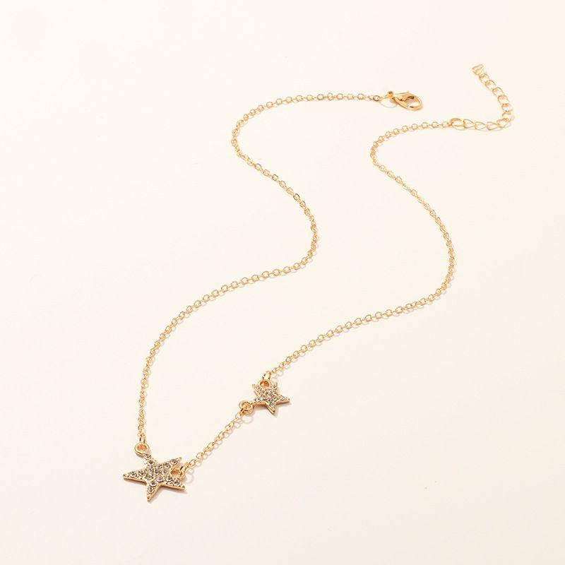 fashion jewelry wild temperament diamond pentagram necklace design sense star clavicle chain wholesale nihaojewelry NHNZ221192