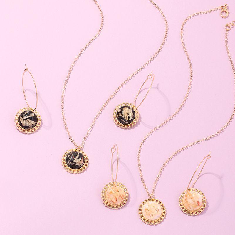 fashion jewelry new geometric round earrings niche design resin necklace set wholesale nihaojewelry NHNZ221198