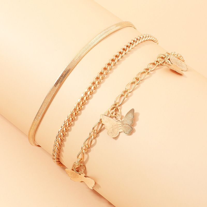 fashion jewelry wholesale simple snake chain chain wild alloy butterfly pendant anklet accessories wholesale nihaojewelry NHNZ221201