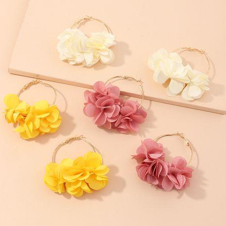 fashion jewelry wild sweet geometric fabric flower earrings alloy large ring earrings wholesale nihaojewelry NHNZ221203's discount tags