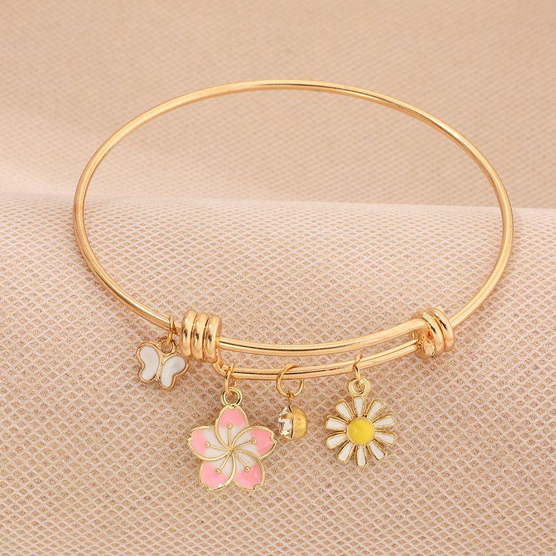 fashion jewelry new small fresh oil drop butterfly flower bracelet simple circle bracelet wholesale nihaojewelry NHNZ221204