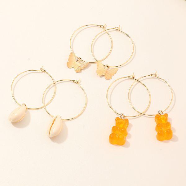 fashion jewelry wild sweet bear earrings multi-element butterfly shell ear ring set wholesale nihaojewelry NHNZ221207