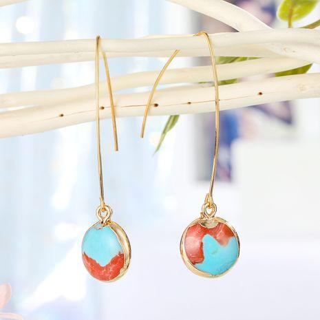 joyería de moda pendientes simples pendientes de piedra natural redondos pequeños pendientes de piedra de color al por mayor nihaojewelry NHGO221208's discount tags