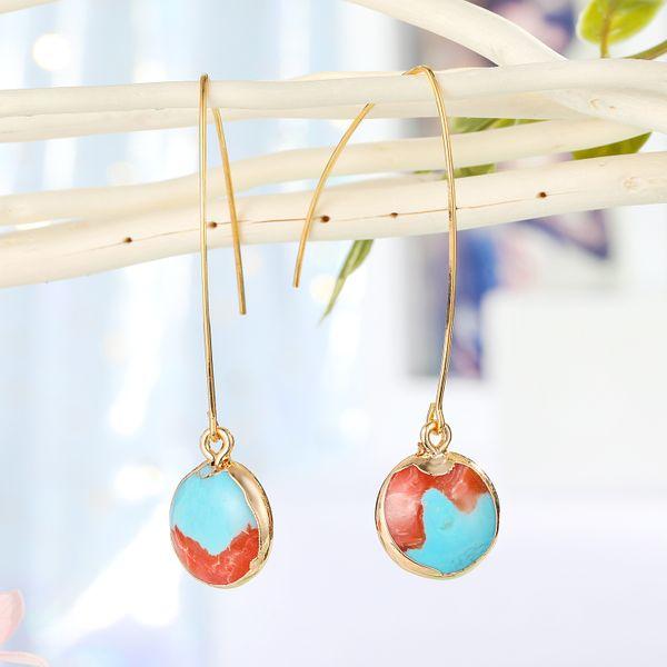 fashion jewelry simple earrings natural stone earrings round small colored stone earrings wholesale nihaojewelry NHGO221208