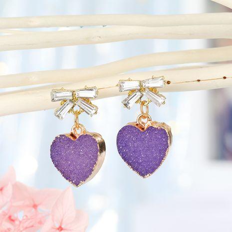 bijoux de mode doux coréen imitation boucles d'oreilles en pierre naturelle amour boucles d'oreilles 925 aiguille en argent boucles d'oreilles arc en gros nihaojewelry NHGO221209's discount tags