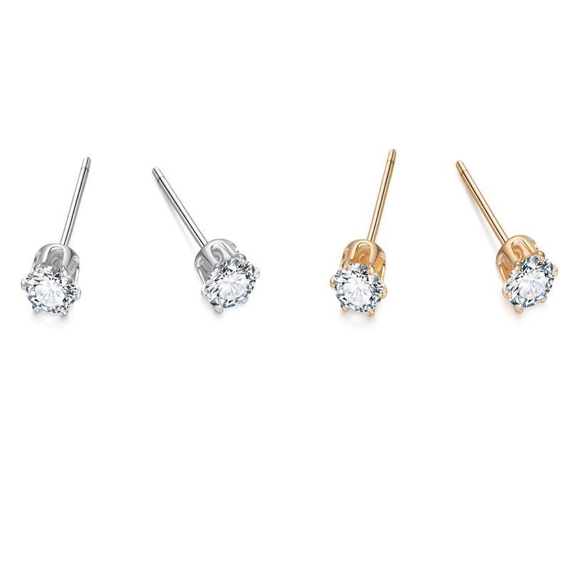 4mm jewelry simple zircon earrings minimalist word ear bone needle mini earrings wholesale nihaojewelry NHGO221211