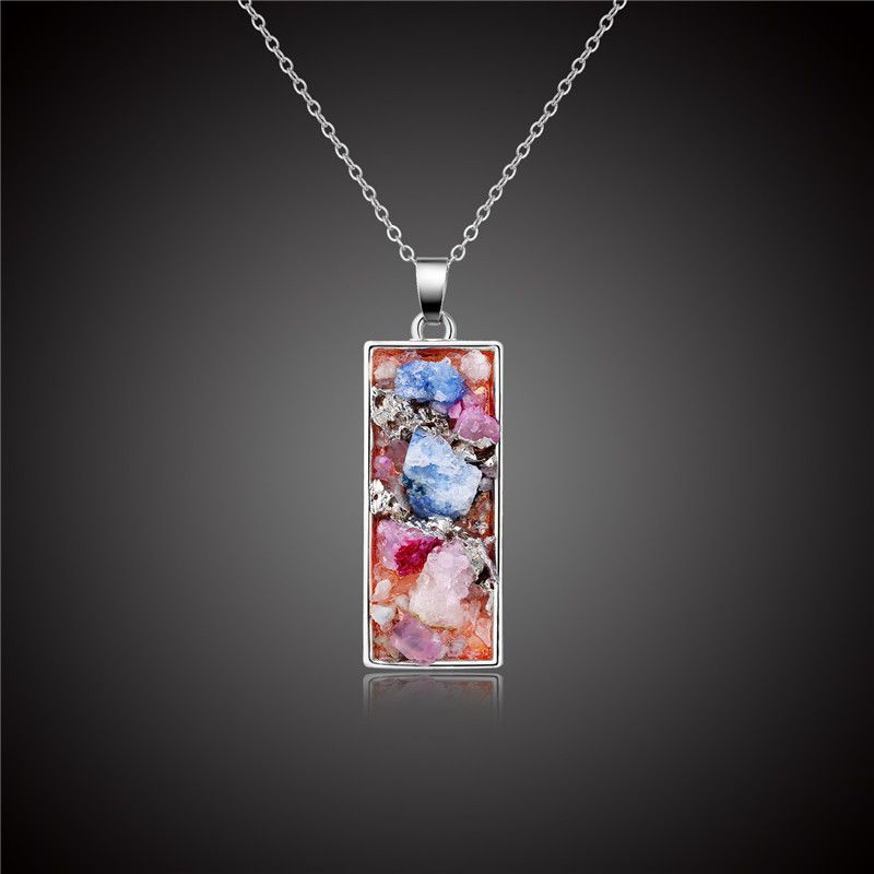 fashion jewelry natural stone necklace geometric rectangular pendant necklace retro crystal bud jewelry wholesale nihaojewelry NHGO221212