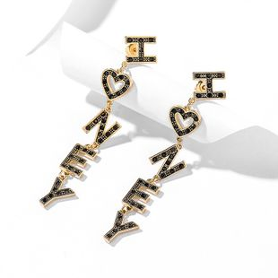 fashion long letter fashion simple earrings new exaggerated personality sexy temperament ear jewelry wholesale nihaojewelry NHPP221225's discount tags