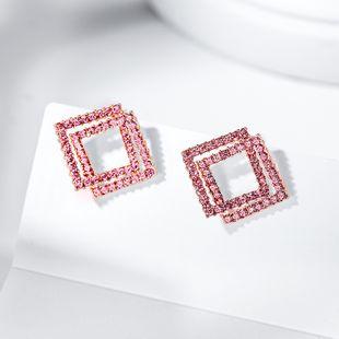 fashion geometric diamond sparkling wild simple earrings new 925 silver needle  temperament elegant earrings wholesale nihaojewelry NHPP221227's discount tags