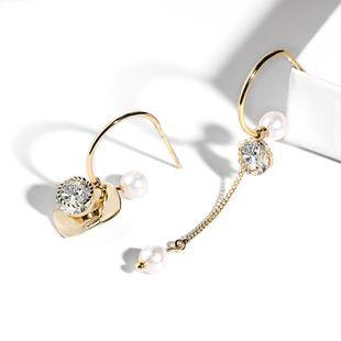 925 silver needle asymmetric fashion wild earrings Korean  new wave fashion elegant earrings wholesale nihaojewelry NHPP221228's discount tags