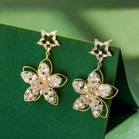 Hong Kong Pie Fairy Flowers Wild Fashion Earrings Women New Exaggerated Sweet Personality Earrings wholesale nihaojewelry NHPP221233's discount tags