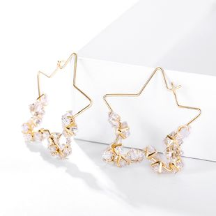 Hong Kong style exaggerated temperament large circle fashion wild earrings pentagram design sense trend simple geometric earrings wholesale nihaojewelry NHPP221235's discount tags