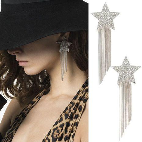 five-pointed star tassel earrings temperament star long earrings show face thin ear jewelry wholesale nihaojewelry NHNT221241's discount tags